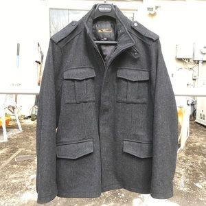 Ben Sherman Grey Herringbone Wool Military Coat